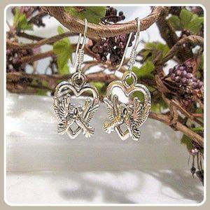 """""""Love Doves"""" Sterling Silver Earrings"""